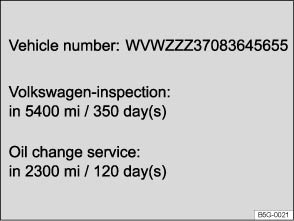 Volkswagen Golf Owners Manual - Service interval display