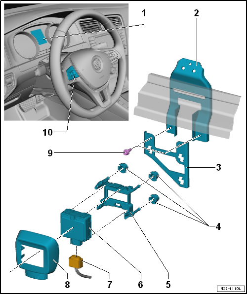 overview of fitting locations – adaptive cruise control, variant 2